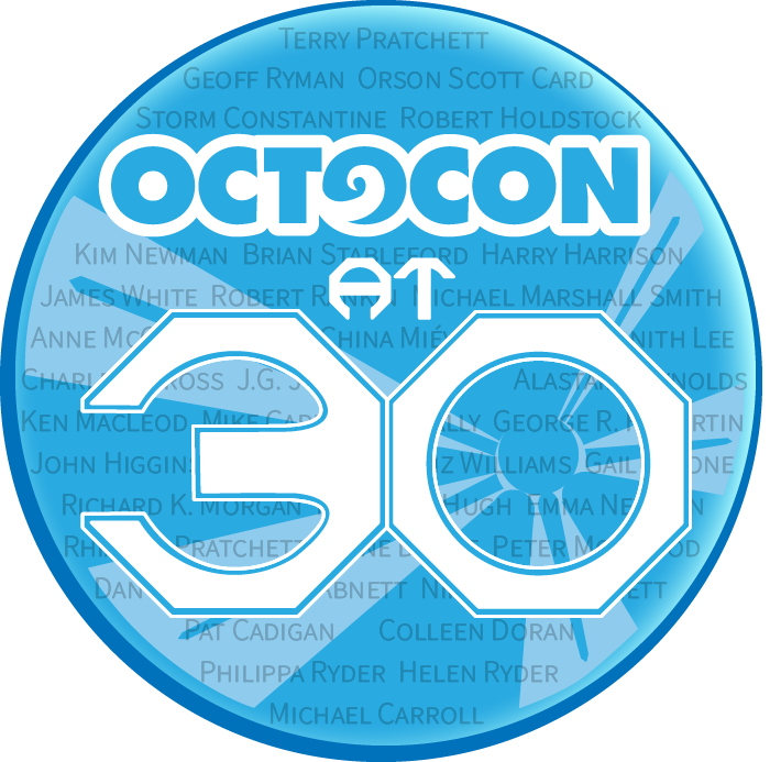 Octocon at 30 logo including Guest of Honour names