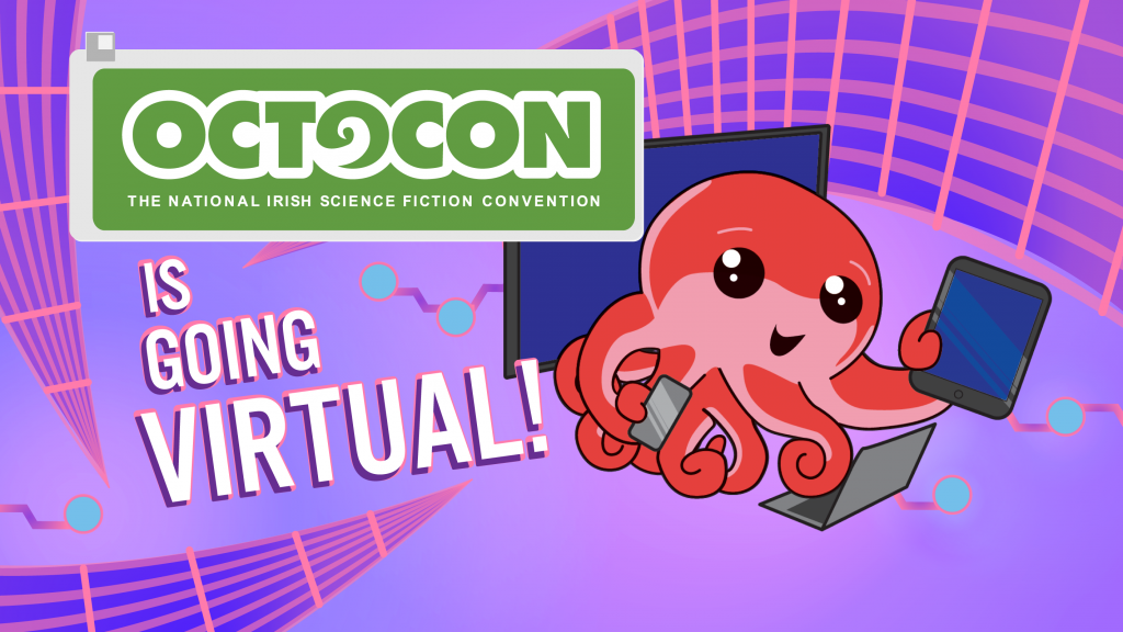 Octocon is going virtual! (Octo surrounded by different screens)