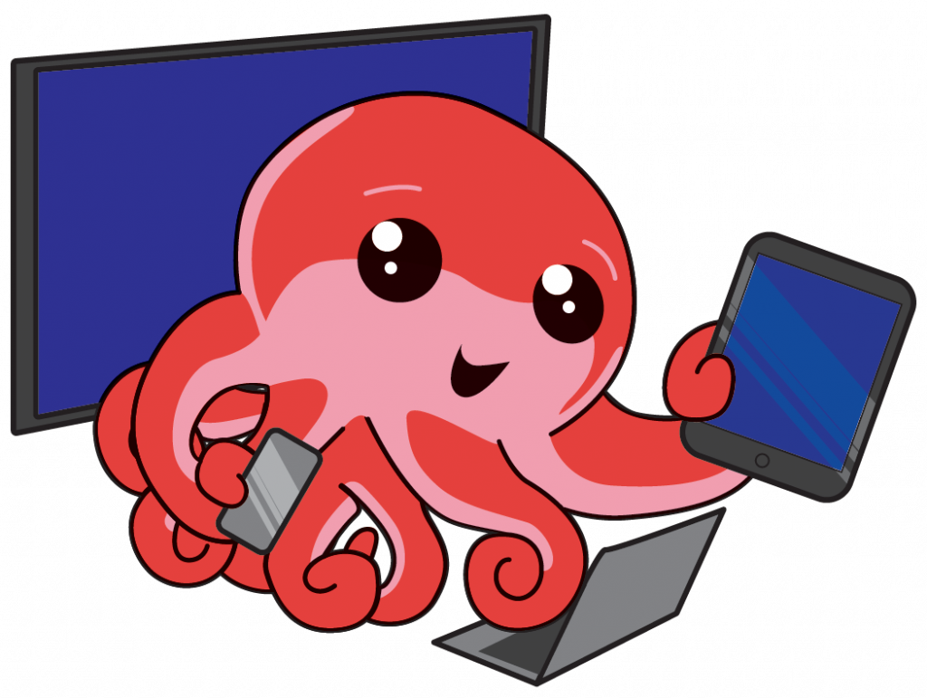 Octo with screen, tablet, laptop and phone