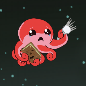 Scared Octo with book and flashlight