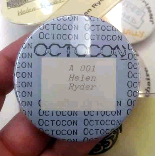 1990 - the very first Octocon badge, issued to chair Helen Ryder